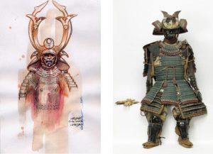 dessin de Gwendal et armure de l'exposition
